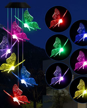 Butterfly Color Changing Solar-Wind Chime