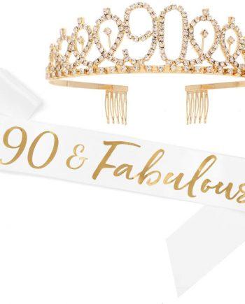 90 and Fabulous Sash & Rhinestone Tiara Set