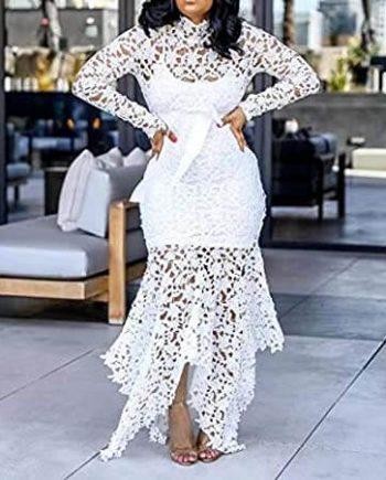 VERWIN Hollow Floor-Length Lace-Up Dress