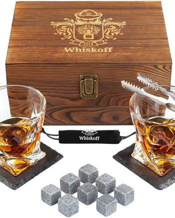 Whiskoff Whiskey Glass and Bourbon Stones Gift Set