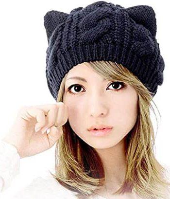 Amberetech Woollike Knitted Kitty Ears Headgear